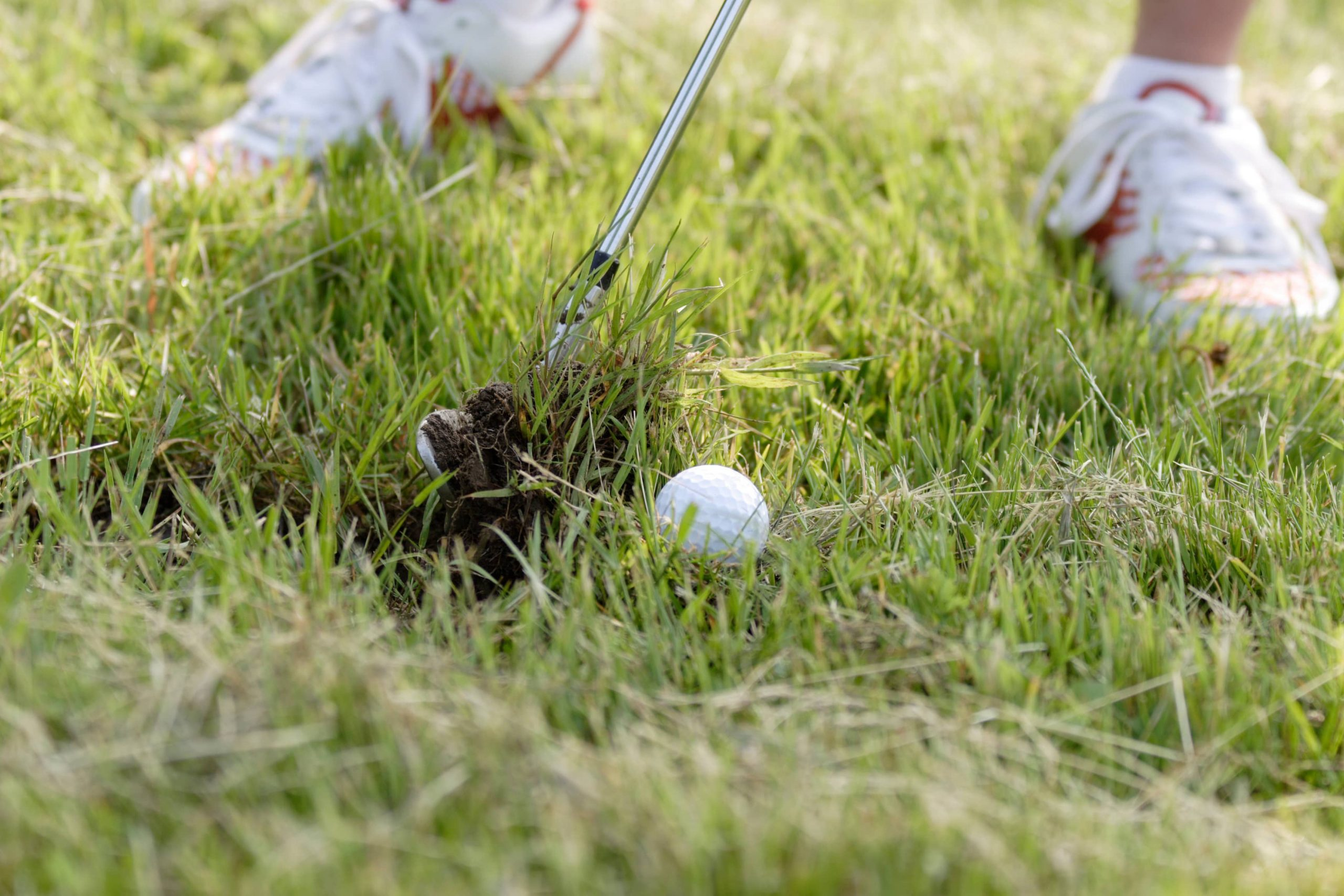 golfer stuck in the rough